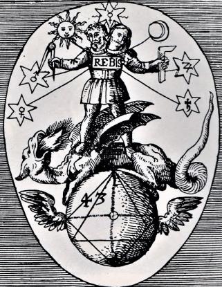 Hermafrodiitti lohikäärmeen päällä Viatorium spagyricum, 1625