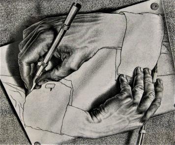 Maurits Cornelis Escher: Piirtävät kädet (1948)