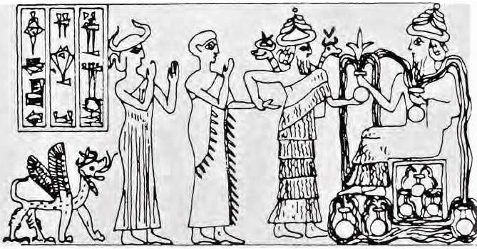 Assyrialaisen Lagashi-kaupungin kuningas Gudean sylinterisinetti (2000 eaa.)